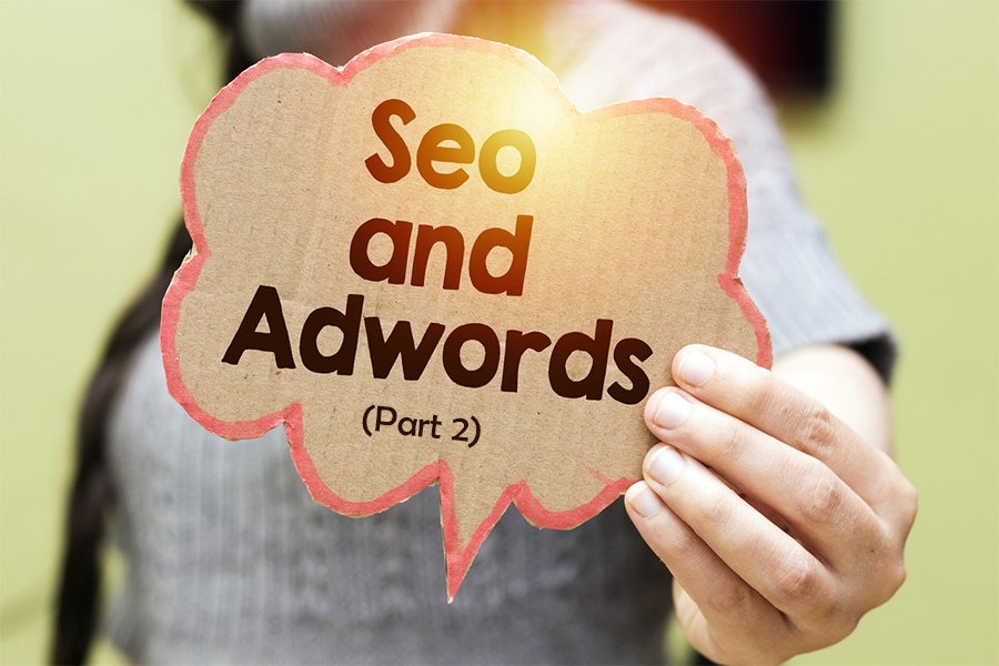 closeup  woman holding seo and adwords