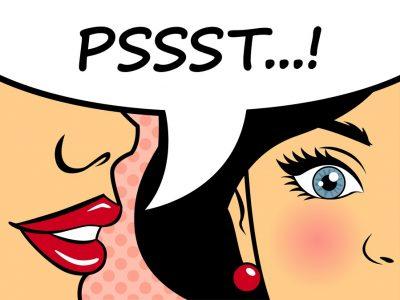 Retro woman whispering gossip