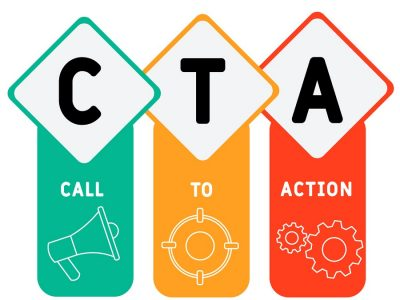 CTA - Call To Action acronym. business concept background.