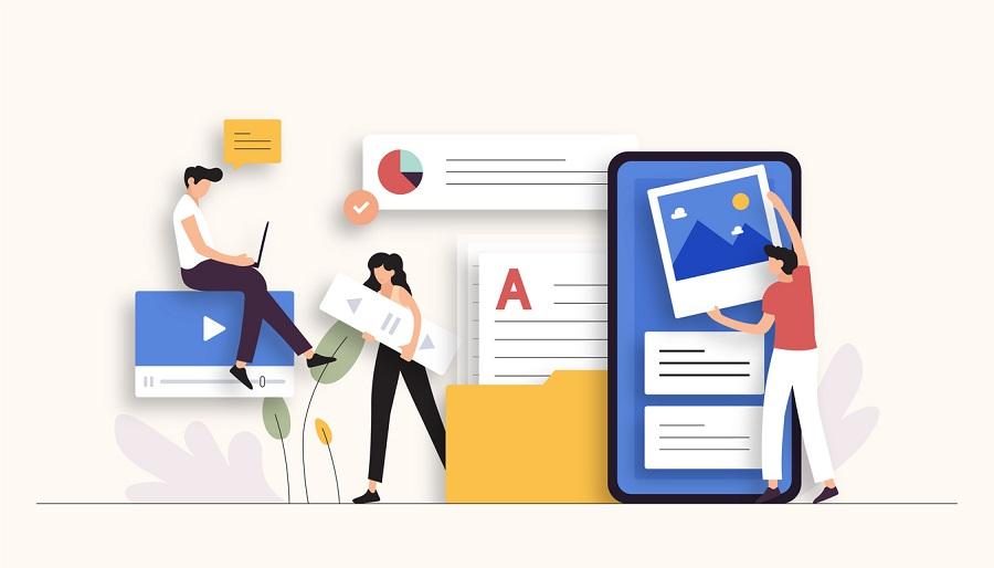 Content Marketing Related Vector Illustration. Flat Modern Design